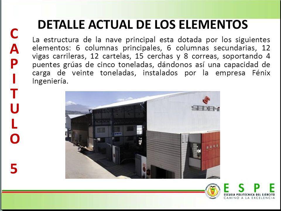 DETALLE ACTUAL DE LOS ELEMENTOS La estructura de la nave principal esta dotada por los siguientes elementos: 6 columnas principales, 6 columnas secund