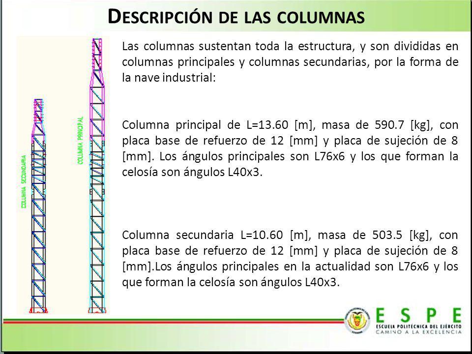 D ESCRIPCIÓN DE LAS COLUMNAS Las columnas sustentan toda la estructura, y son divididas en columnas principales y columnas secundarias, por la forma d
