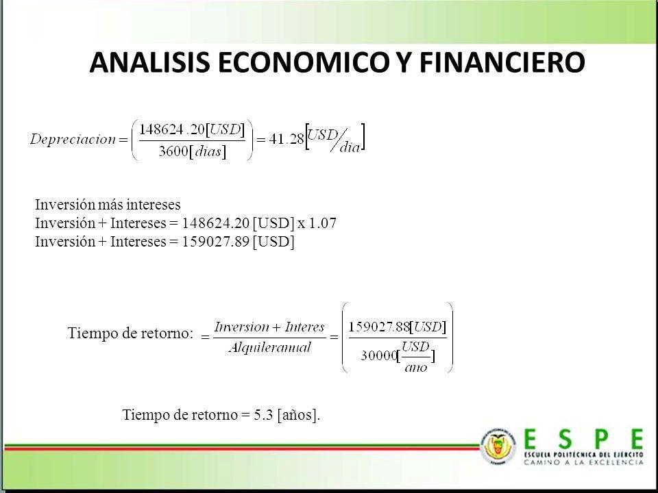 ANALISIS ECONOMICO Y FINANCIERO Inversión más intereses Inversión + Intereses = 148624.20 [USD] x 1.07 Inversión + Intereses = 159027.89 [USD] Tiempo