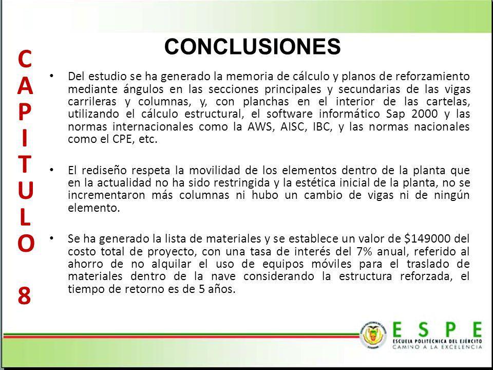 CONCLUSIONES Del estudio se ha generado la memoria de cálculo y planos de reforzamiento mediante ángulos en las secciones principales y secundarias de