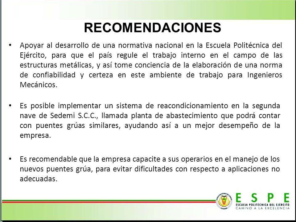 RECOMENDACIONES Apoyar al desarrollo de una normativa nacional en la Escuela Politécnica del Ejército, para que el país regule el trabajo interno en e