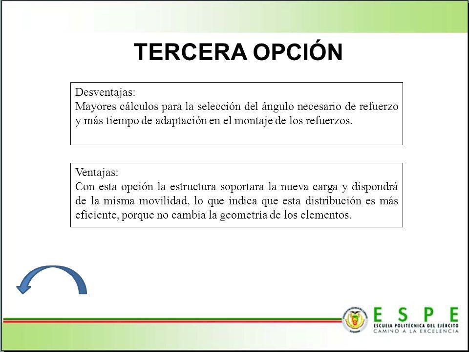 TERCERA OPCIÓN Ventajas: Con esta opción la estructura soportara la nueva carga y dispondrá de la misma movilidad, lo que indica que esta distribución