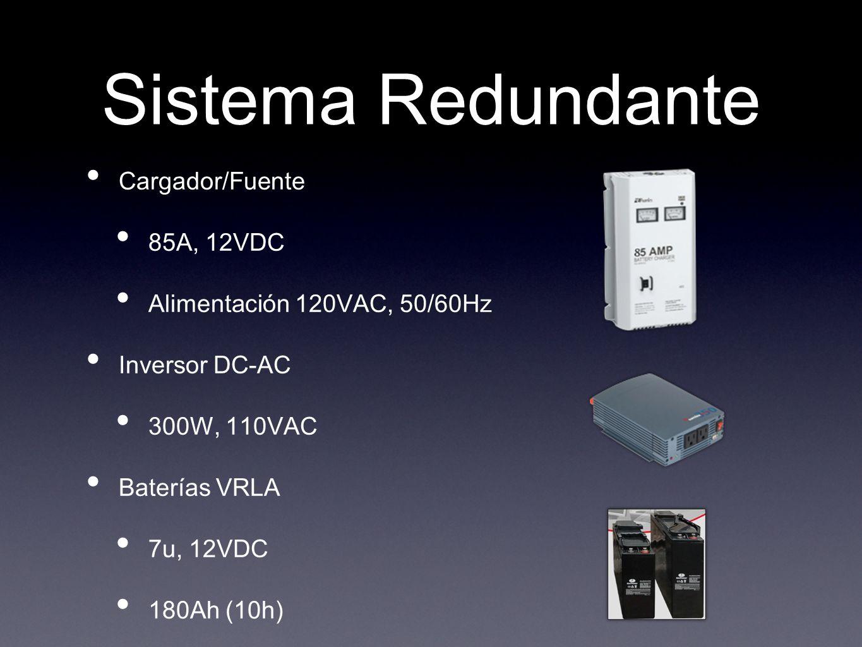 Sistema Redundante Cargador/Fuente 85A, 12VDC Alimentación 120VAC, 50/60Hz Inversor DC-AC 300W, 110VAC Baterías VRLA 7u, 12VDC 180Ah (10h)