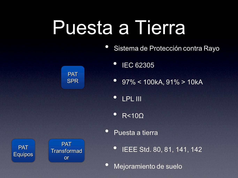 Puesta a Tierra Sistema de Protección contra Rayo IEC 62305 97% 10kA LPL III R<10Ω Puesta a tierra IEEE Std. 80, 81, 141, 142 Mejoramiento de suelo PA