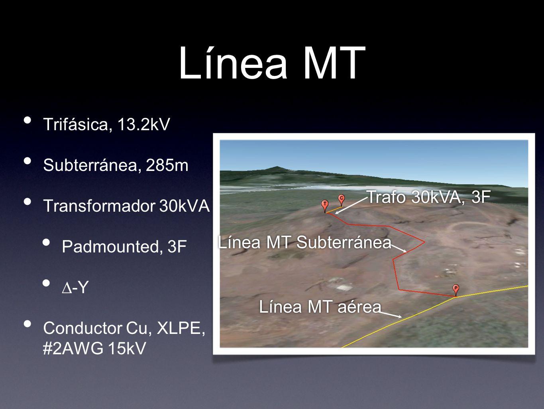 Línea MT Trifásica, 13.2kV Subterránea, 285m Transformador 30kVA Padmounted, 3F -Y Conductor Cu, XLPE, #2AWG 15kV Línea MT aérea Trafo 30kVA, 3F Línea