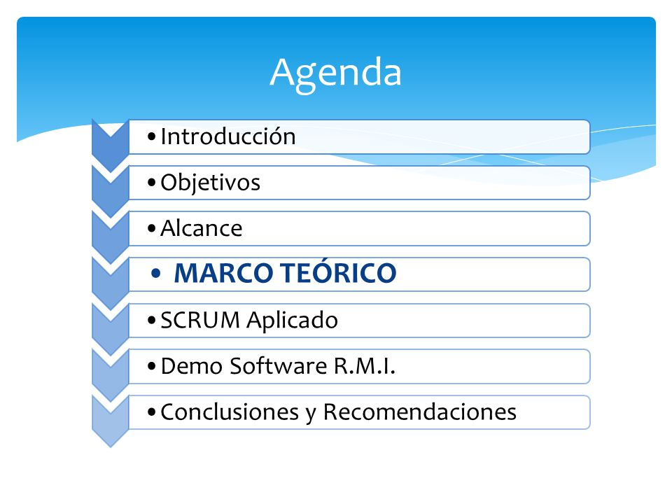 Agenda Introducción ObjetivosAlcance MARCO TEÓRICO SCRUM AplicadoDemo Software R.M.I.Conclusiones y Recomendaciones