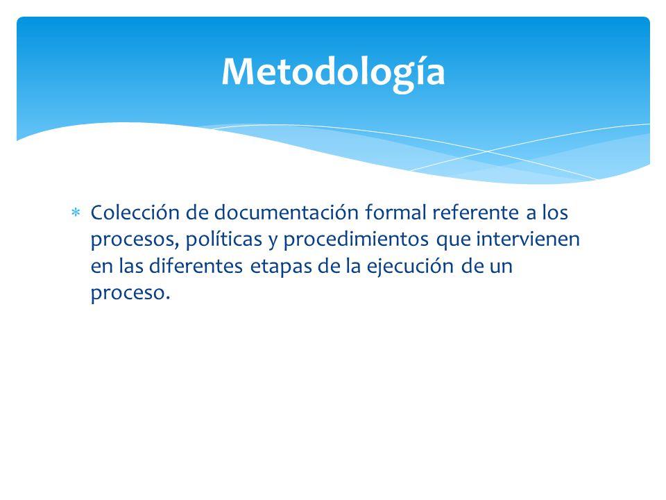 Colección de documentación formal referente a los procesos, políticas y procedimientos que intervienen en las diferentes etapas de la ejecución de un