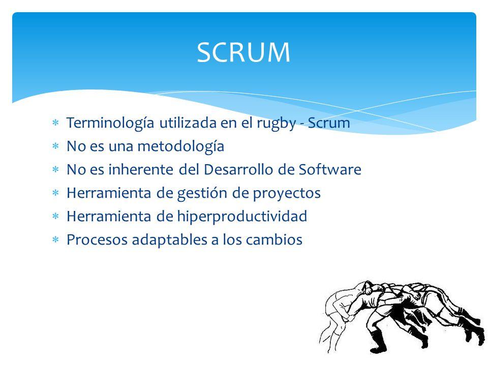 Terminología utilizada en el rugby - Scrum No es una metodología No es inherente del Desarrollo de Software Herramienta de gestión de proyectos Herram
