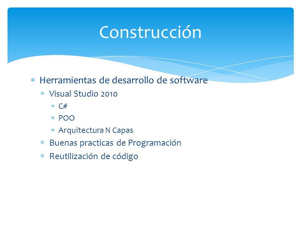 Herramientas de desarrollo de software Visual Studio 2010 C# POO Arquitectura N Capas Buenas practicas de Programación Reutilización de código Constru