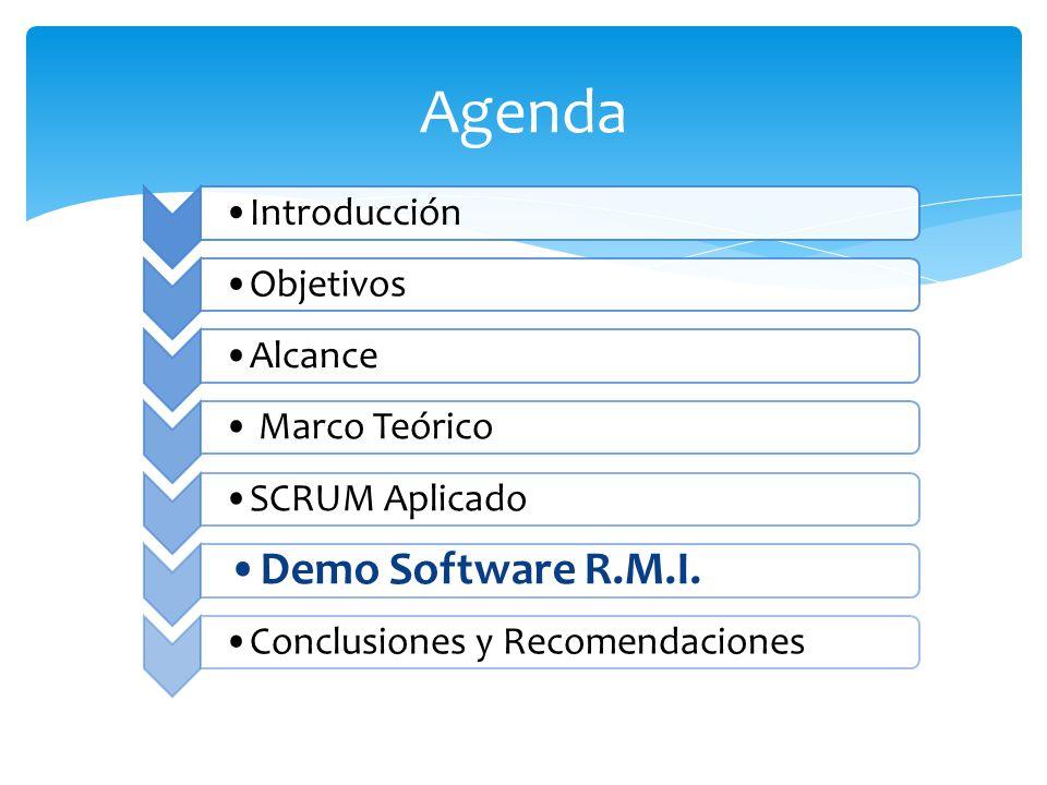 Agenda Introducción ObjetivosAlcance Marco Teórico SCRUM Aplicado Demo Software R.M.I. Conclusiones y Recomendaciones