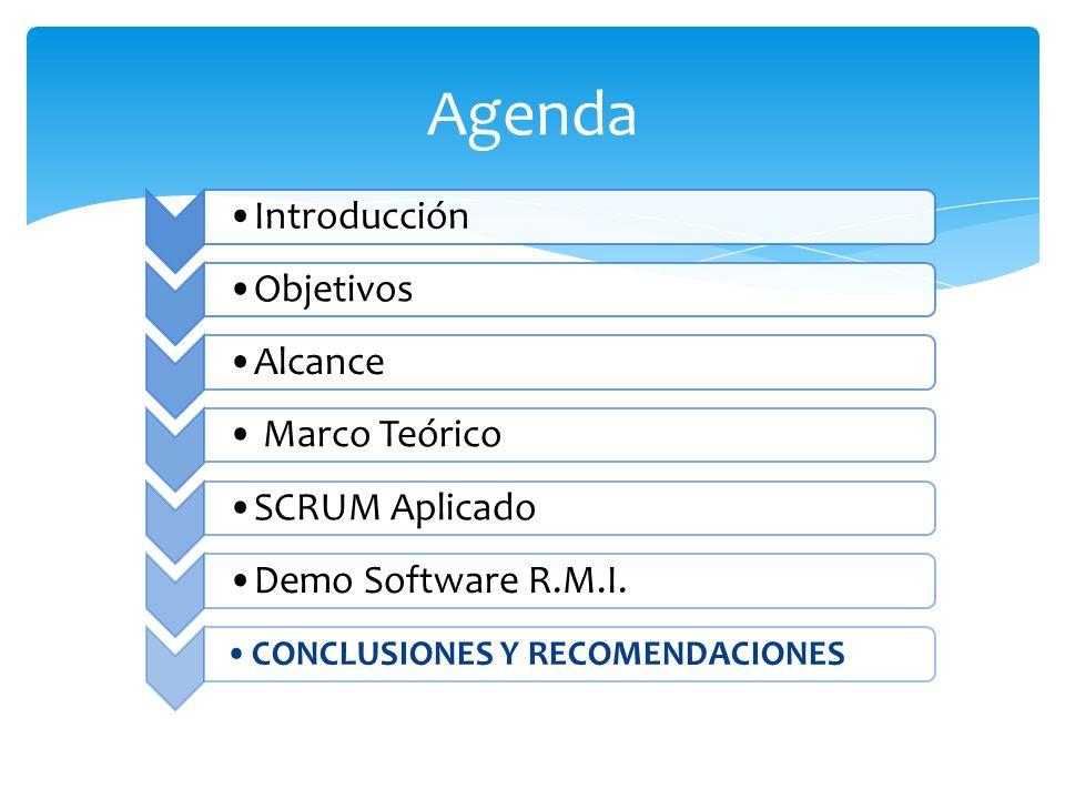 Agenda Introducción ObjetivosAlcance Marco Teórico SCRUM AplicadoDemo Software R.M.I. CONCLUSIONES Y RECOMENDACIONES