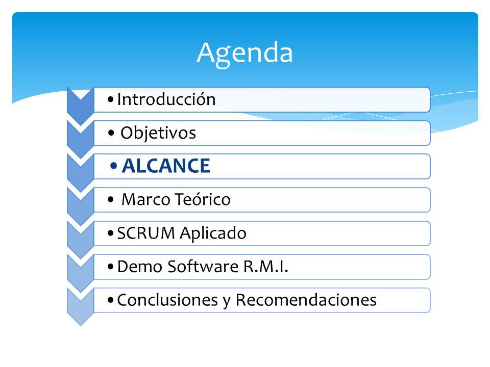 Agenda Introducción Objetivos ALCANCE Marco Teórico SCRUM AplicadoDemo Software R.M.I.Conclusiones y Recomendaciones