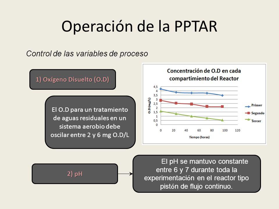 Operación de la PPTAR Control de las variables de proceso 1) Oxígeno Disuelto (O.D) El O.D para un tratamiento de aguas residuales en un sistema aerob