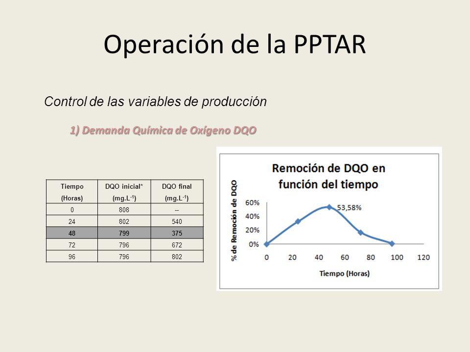 Operación de la PPTAR Control de las variables de producción 1) Demanda Química de Oxígeno DQO Tiempo (Horas) DQO inicial* (mg.L -1 ) DQO final (mg.L