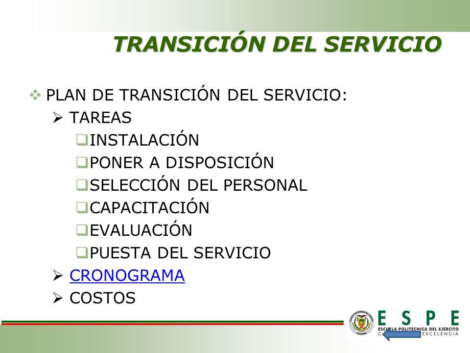 TRANSICIÓN DEL SERVICIO PLAN DE TRANSICIÓN DEL SERVICIO: TAREAS INSTALACIÓN PONER A DISPOSICIÓN SELECCIÓN DEL PERSONAL CAPACITACIÓN EVALUACIÓN PUESTA