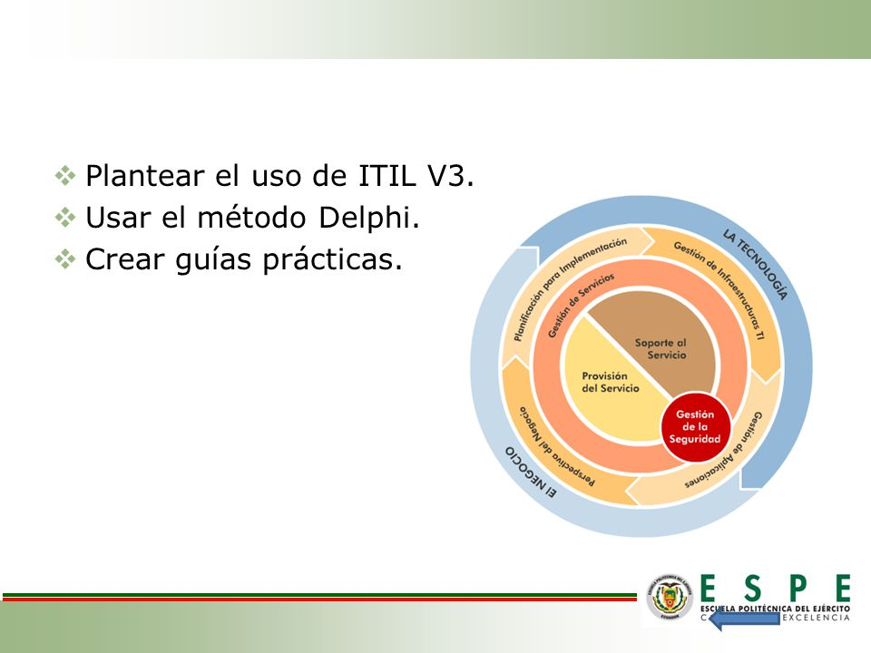 Plantear el uso de ITIL V3. Usar el método Delphi. Crear guías prácticas.