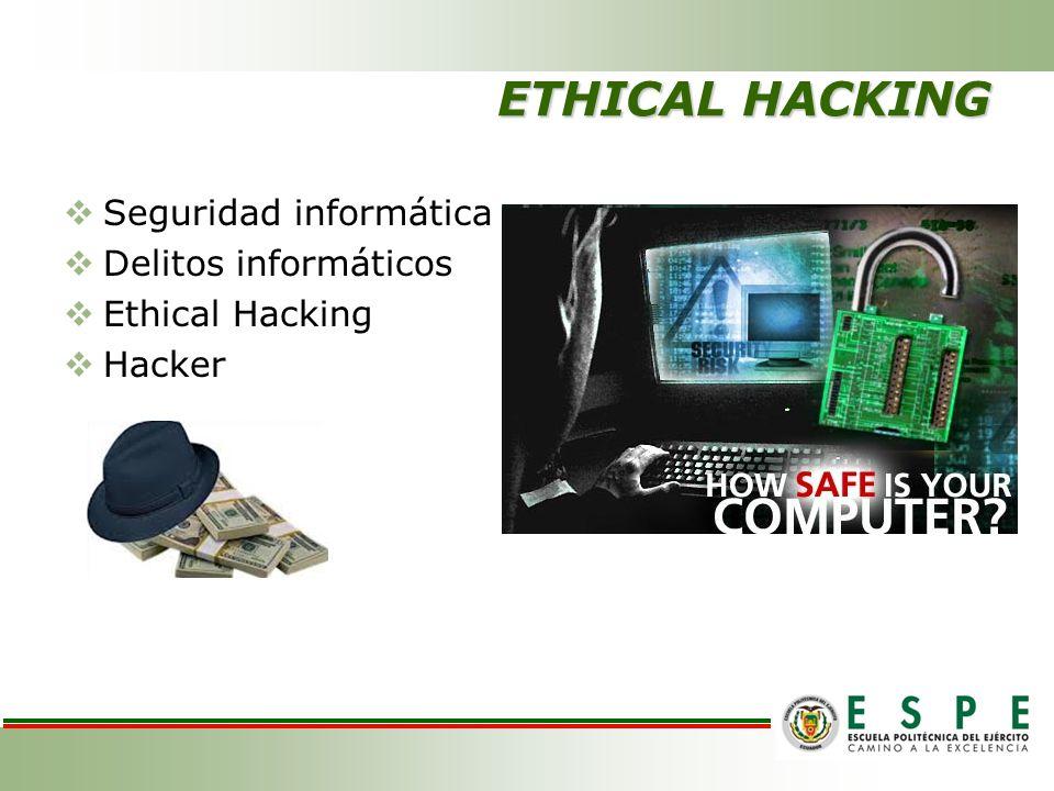 ETHICAL HACKING Seguridad informática Delitos informáticos Ethical Hacking Hacker