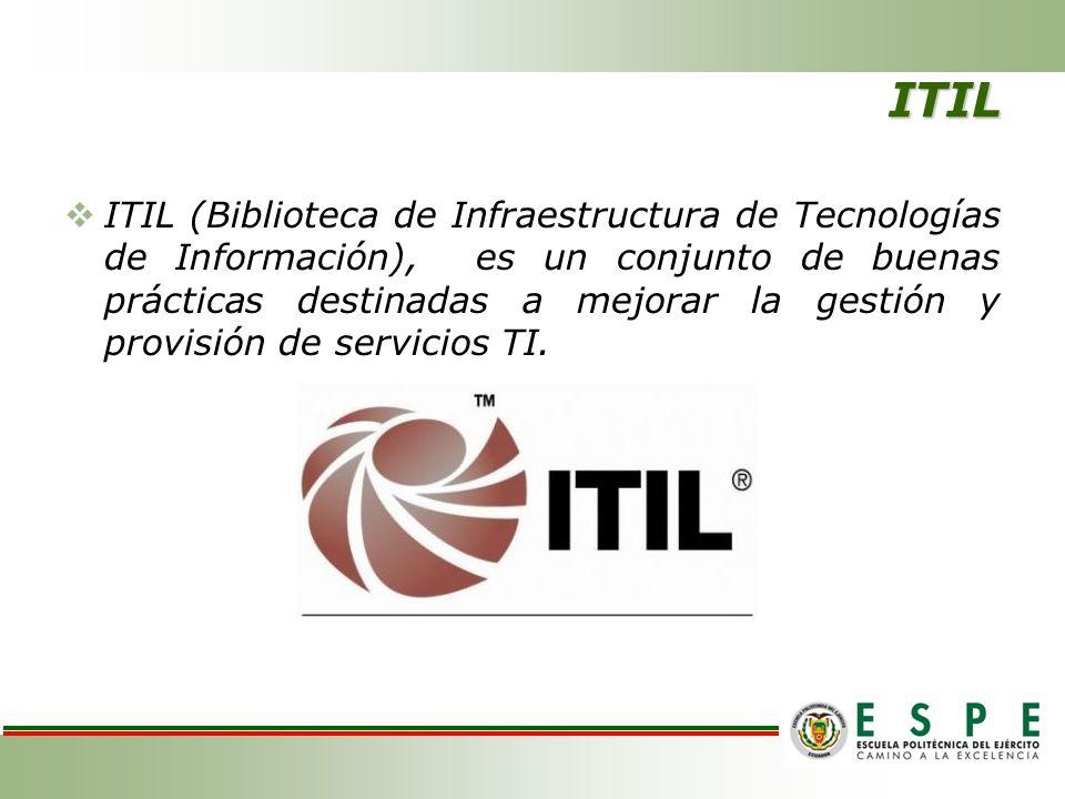 ITIL ITIL (Biblioteca de Infraestructura de Tecnologías de Información), es un conjunto de buenas prácticas destinadas a mejorar la gestión y provisió
