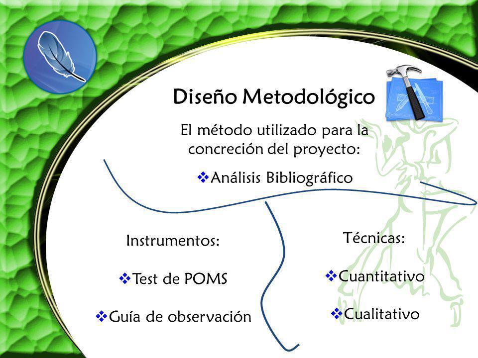 Diseño Metodológico Instrumentos: Test de POMS Guía de observación Técnicas: Cuantitativo Cualitativo El método utilizado para la concreción del proye