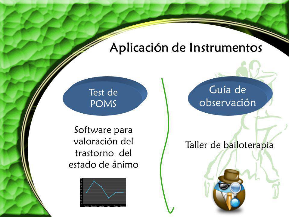 Aplicación de Instrumentos Taller de bailoterapia Software para valoración del trastorno del estado de ánimo Test de POMS Guía de observación