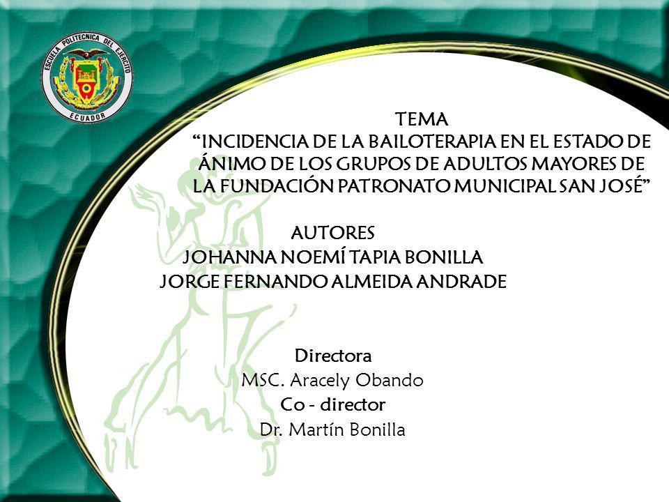 TEMA INCIDENCIA DE LA BAILOTERAPIA EN EL ESTADO DE ÁNIMO DE LOS GRUPOS DE ADULTOS MAYORES DE LA FUNDACIÓN PATRONATO MUNICIPAL SAN JOSÉ AUTORES JOHANNA