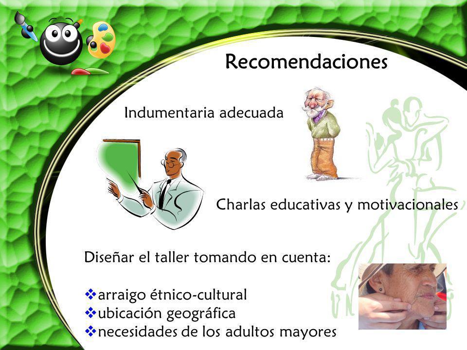Recomendaciones Indumentaria adecuada Charlas educativas y motivacionales Diseñar el taller tomando en cuenta: arraigo étnico-cultural ubicación geogr