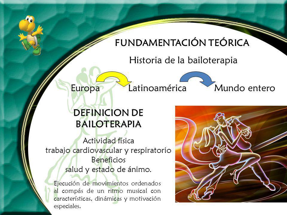 FUNDAMENTACIÓN TEÓRICA Historia de la bailoterapia DEFINICION DE BAILOTERAPIA EuropaLatinoaméricaMundo entero Actividad física trabajo cardiovascular