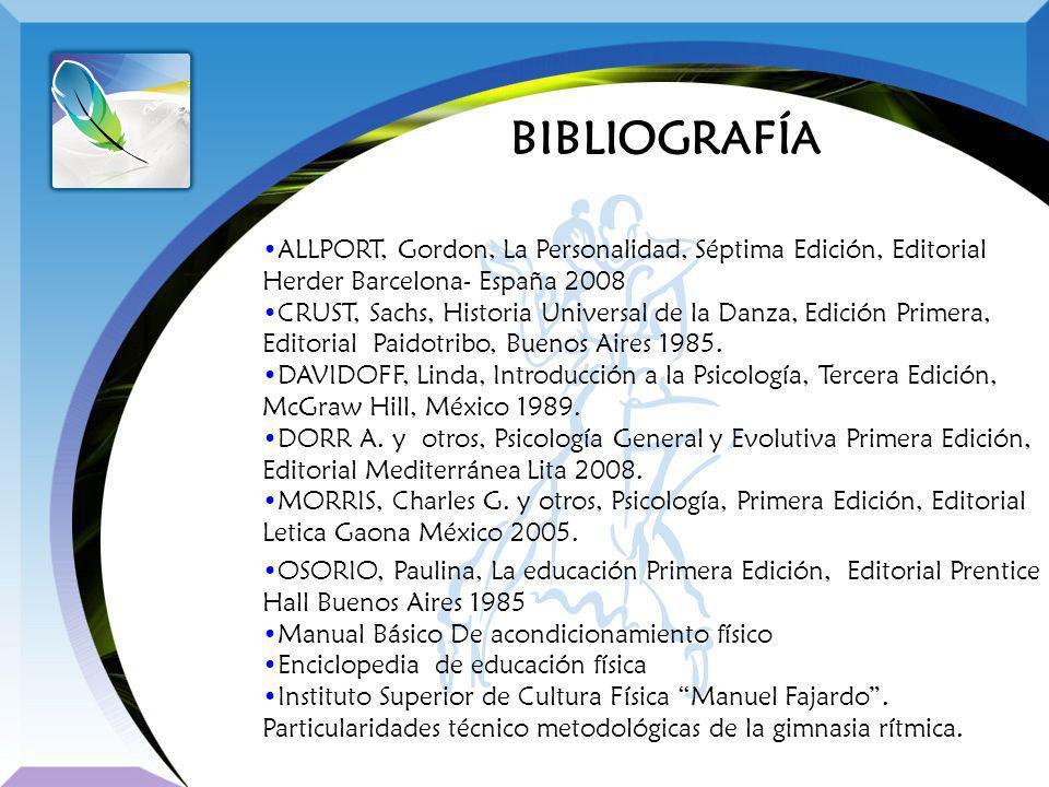 BIBLIOGRAFÍA ALLPORT, Gordon, La Personalidad, Séptima Edición, Editorial Herder Barcelona- España 2008 CRUST, Sachs, Historia Universal de la Danza,