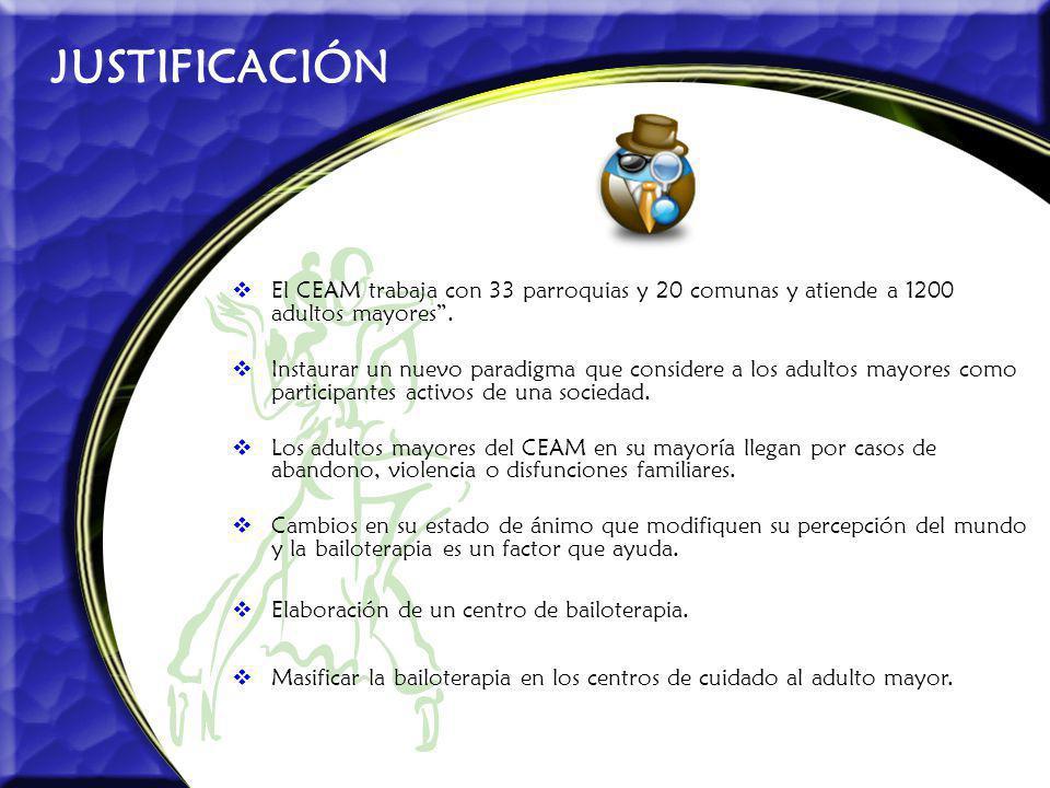 JUSTIFICACIÓN El CEAM trabaja con 33 parroquias y 20 comunas y atiende a 1200 adultos mayores. Instaurar un nuevo paradigma que considere a los adulto