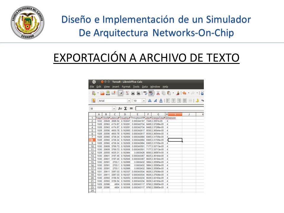 Diseño e Implementación de un Simulador De Arquitectura Networks-On-Chip EXPORTACIÓN A ARCHIVO DE TEXTO