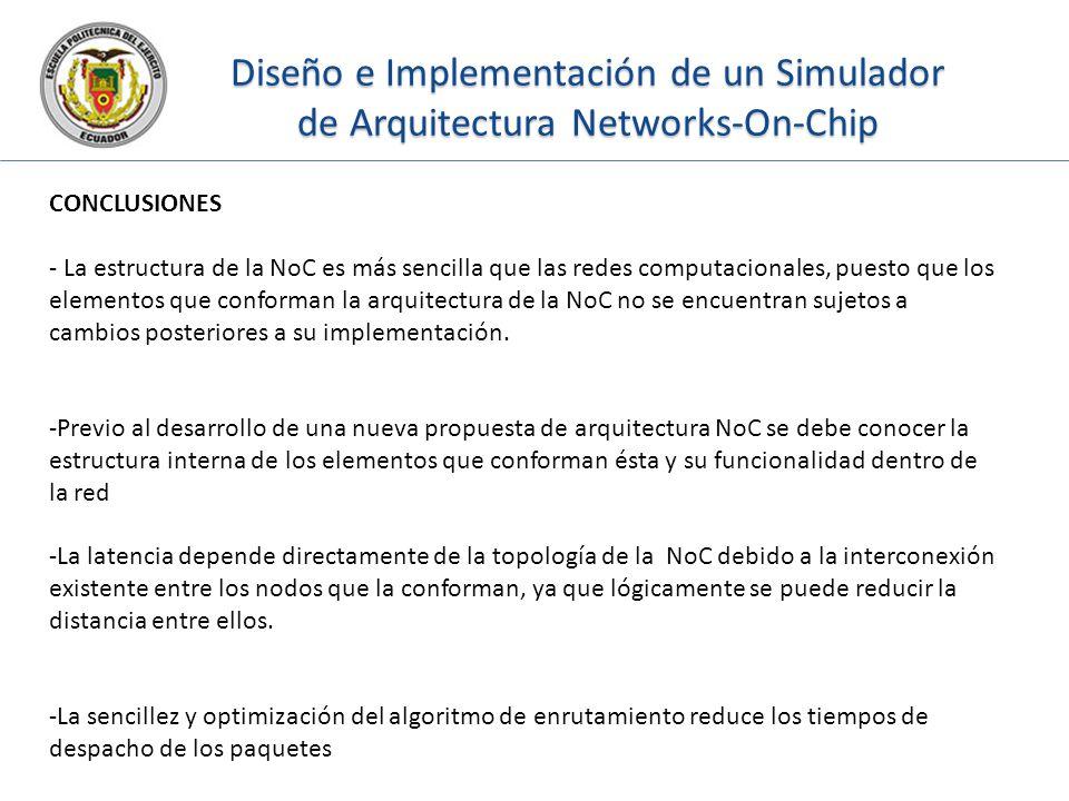 Diseño e Implementación de un Simulador de Arquitectura Networks-On-Chip CONCLUSIONES - La estructura de la NoC es más sencilla que las redes computac