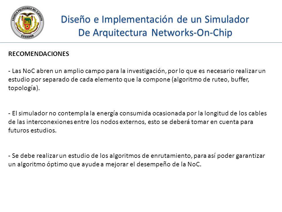 Diseño e Implementación de un Simulador De Arquitectura Networks-On-Chip RECOMENDACIONES - Las NoC abren un amplio campo para la investigación, por lo