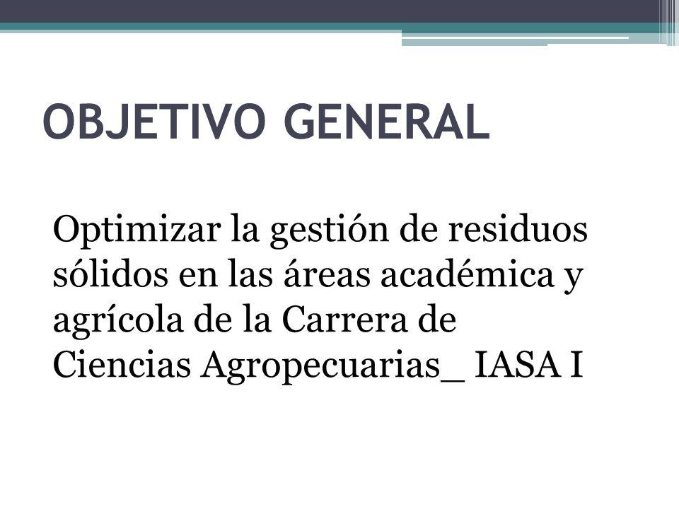 OBJETIVO GENERAL Optimizar la gestión de residuos sólidos en las áreas académica y agrícola de la Carrera de Ciencias Agropecuarias_ IASA I