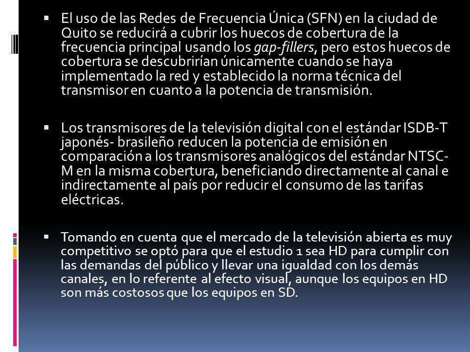 El uso de las Redes de Frecuencia Única (SFN) en la ciudad de Quito se reducirá a cubrir los huecos de cobertura de la frecuencia principal usando los