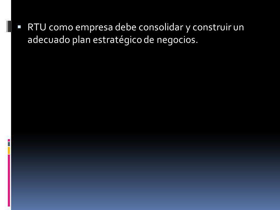 RTU como empresa debe consolidar y construir un adecuado plan estratégico de negocios.