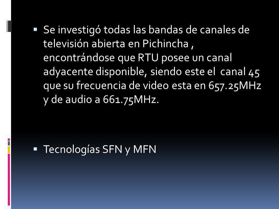 Se investigó todas las bandas de canales de televisión abierta en Pichincha, encontrándose que RTU posee un canal adyacente disponible, siendo este el