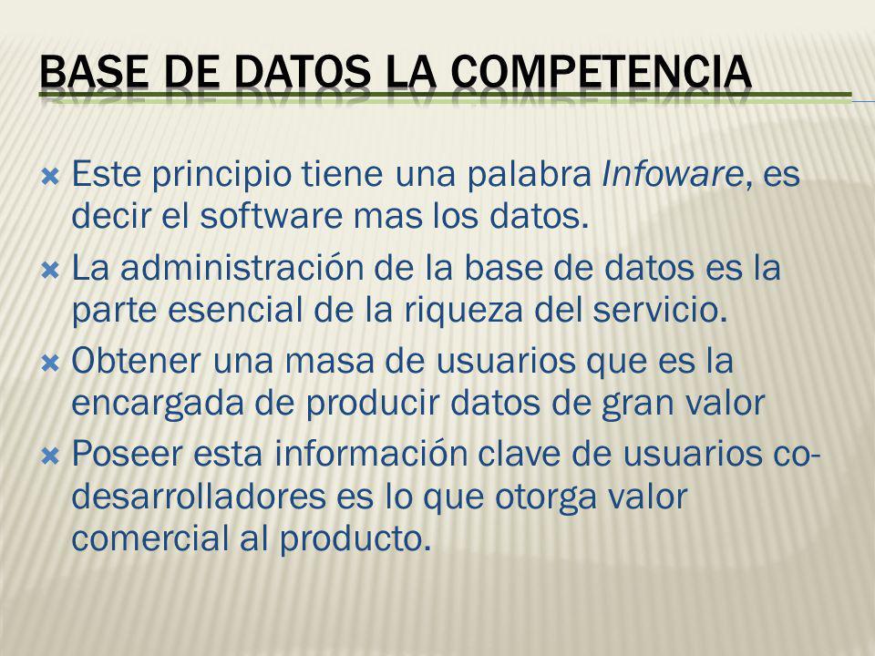 Este principio tiene una palabra Infoware, es decir el software mas los datos. La administración de la base de datos es la parte esencial de la riquez