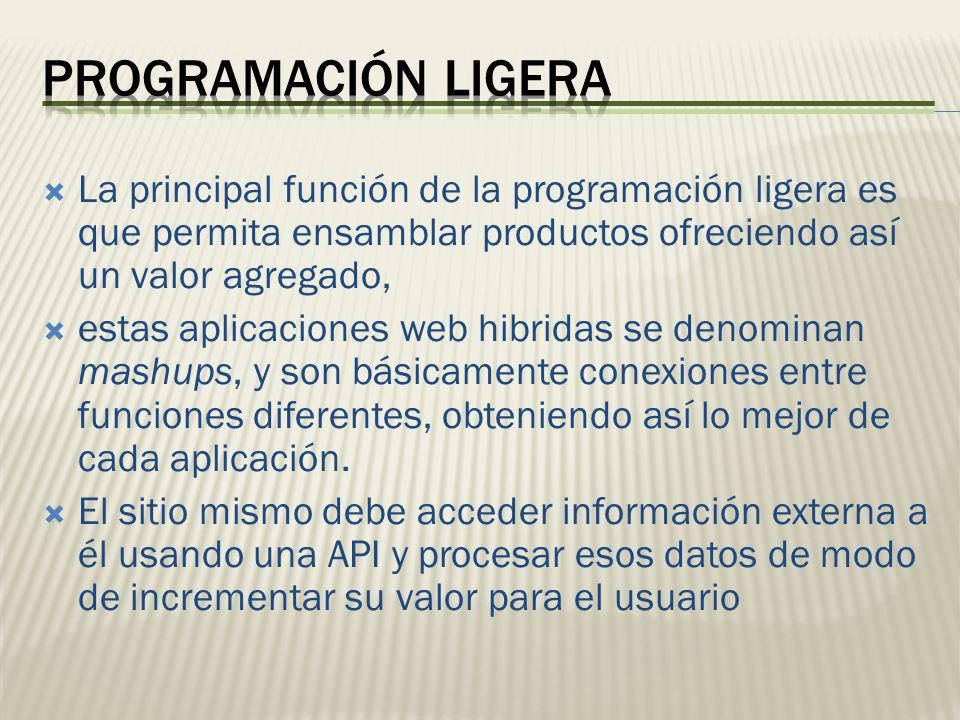 La principal función de la programación ligera es que permita ensamblar productos ofreciendo así un valor agregado, estas aplicaciones web hibridas se