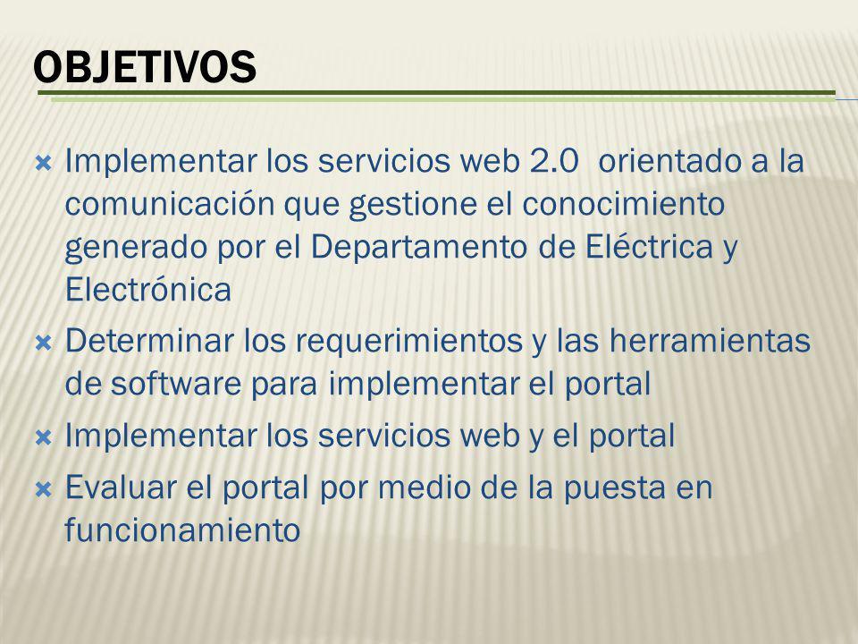 Implementar los servicios web 2.0 orientado a la comunicación que gestione el conocimiento generado por el Departamento de Eléctrica y Electrónica Det