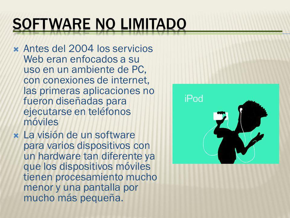 Antes del 2004 los servicios Web eran enfocados a su uso en un ambiente de PC, con conexiones de internet, las primeras aplicaciones no fueron diseñad