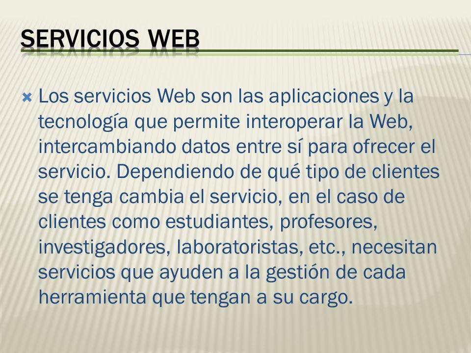 Los servicios Web son las aplicaciones y la tecnología que permite interoperar la Web, intercambiando datos entre sí para ofrecer el servicio. Dependi