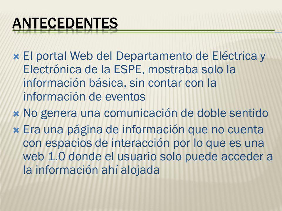 El portal Web del Departamento de Eléctrica y Electrónica de la ESPE, mostraba solo la información básica, sin contar con la información de eventos No