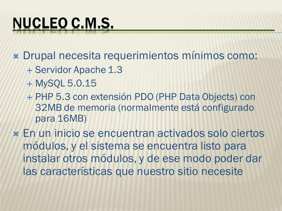 Drupal necesita requerimientos mínimos como: Servidor Apache 1.3 MySQL 5.0.15 PHP 5.3 con extensión PDO (PHP Data Objects) con 32MB de memoria (normal