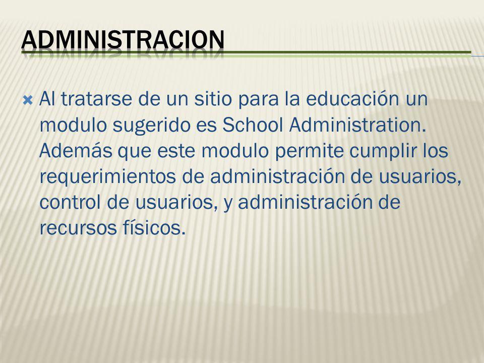 Al tratarse de un sitio para la educación un modulo sugerido es School Administration. Además que este modulo permite cumplir los requerimientos de ad
