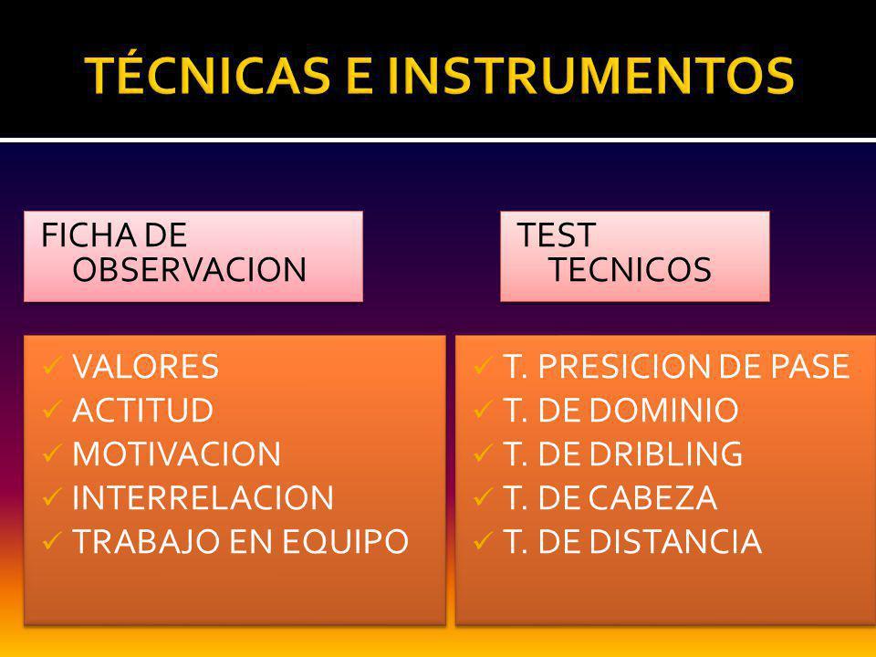 FICHA DE OBSERVACION TEST TECNICOS VALORES ACTITUD MOTIVACION INTERRELACION TRABAJO EN EQUIPO VALORES ACTITUD MOTIVACION INTERRELACION TRABAJO EN EQUIPO T.
