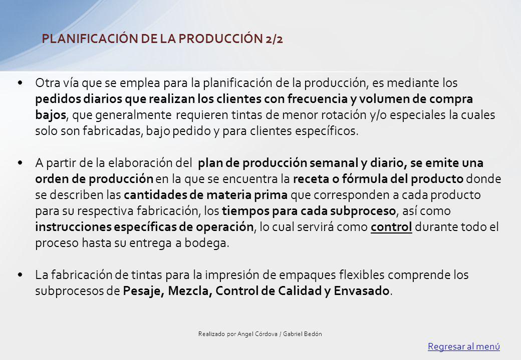 Otra vía que se emplea para la planificación de la producción, es mediante los pedidos diarios que realizan los clientes con frecuencia y volumen de c