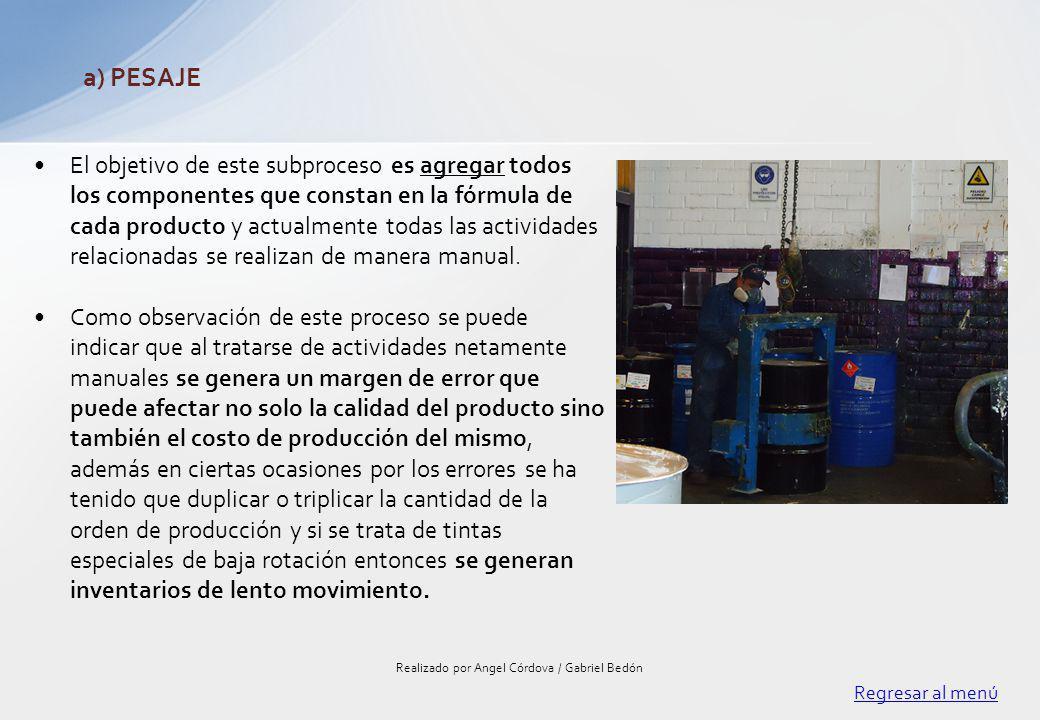 El objetivo de este subproceso es agregar todos los componentes que constan en la fórmula de cada producto y actualmente todas las actividades relacio