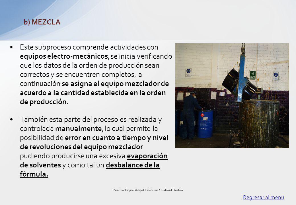 Este subproceso comprende actividades con equipos electro-mecánicos; se inicia verificando que los datos de la orden de producción sean correctos y se
