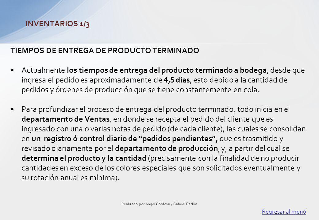 TIEMPOS DE ENTREGA DE PRODUCTO TERMINADO Actualmente los tiempos de entrega del producto terminado a bodega, desde que ingresa el pedido es aproximada