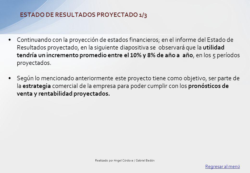 Continuando con la proyección de estados financieros; en el informe del Estado de Resultados proyectado, en la siguiente diapositiva se observará que